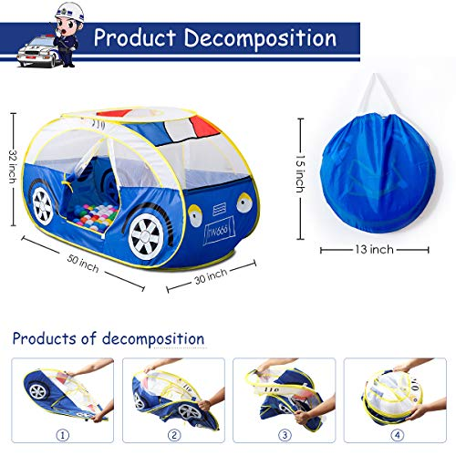 Artiron Police Car Play Tent, Indoor Outdoor Kids Vehicle Castle Pop up Tent Playhouse as Great Birthday Gift Toys 1-8 Years Old Toddlers Baby Boys Girls (Police Car) by Artiron (Image #5)