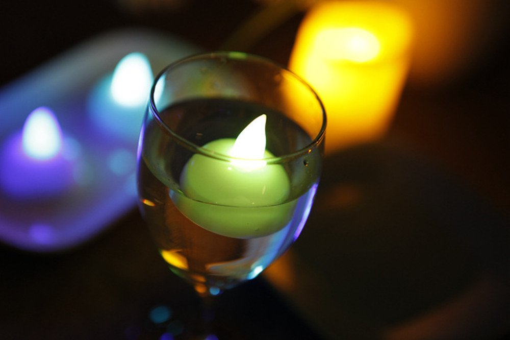 Flameless Floating Candles Color Changing LED Tealights, Waterproof ''Floating on Water'' LED Tea Light Battery Operated Multicolor Mini Candles Color Changing Wedding Decorations, Pack of 12