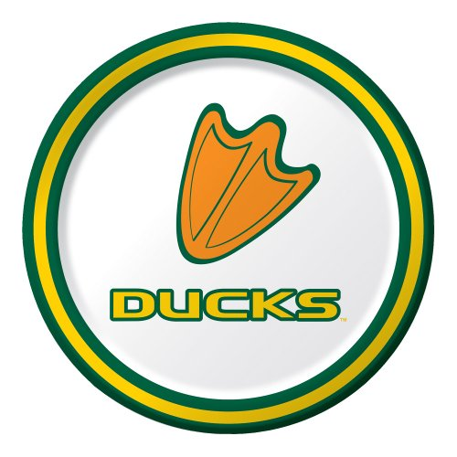 Creative Converting 8 Count University of Oregon Sturdy Style Paper Lunch Plates, (Oregon Ducks Party Supplies)