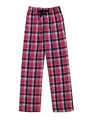 Ultra Soft Unisex Youth 100% Cotton Flannel Pants – Manhattan Pink, Large Boys Pajama Bottoms