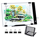 Diamond Painting A4 LED Light Pad, Dimmable Light Board Kit, Apply to Full Drill & Partial Drill 5D Diamond Painting with Detachable Stand and Clips