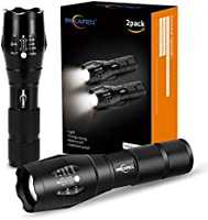 2 PACK Lampe de poche tactique LED 5 modes, Lumen élevé, Zoomable, Résistant à l'eau, Lumière de poche - Idéal pour le camping, la randonnée, la marche de chien
