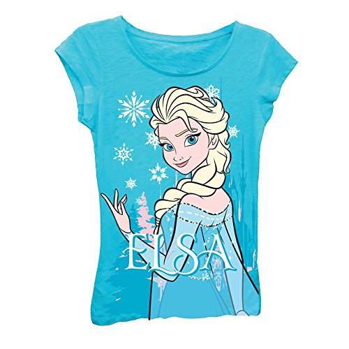 Disney Frozen Elsa Snow Toddlers Navy Blue T-Shirt   6X -