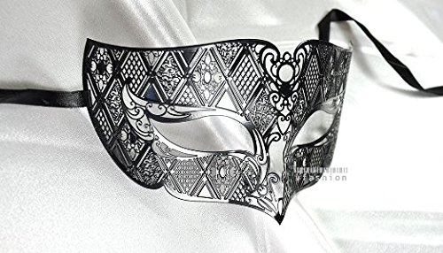 [Men Plated Laser Cut Venetian Masquerade Mask - Filigree Metal Design - Event Party Ball Mardi Gars] (Masquerade Mask Men)