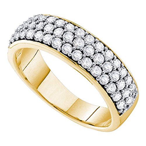 Womens Diamond Three Row Wedding Band 10k Yellow Gold Dome Ring Round Pave Set Wide Fancy 1.00 ()