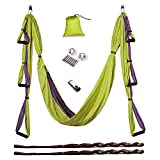 AUKIEE Yoga Swing/Hammock/Trapeze/Sling for Antigravity Yoga Inversion Exercises-(6 in 1) 2 Mounting sets/2 Extension Straps/Free Vedio in USB Flash Drive (Tender green/charcoal grey)