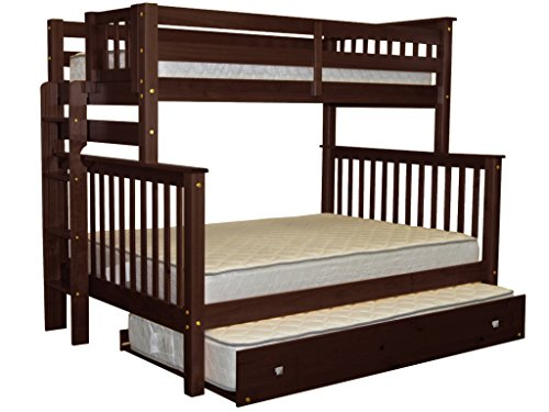 Bedz King Bunk Beds Twin over Full Mission Style with End Ladder and a Twin Trundle, Cappuccino