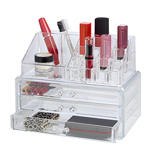 Clearly Chic 19 Compartment Cosmetic Organizer with 3 Drawer -