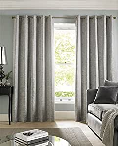 "BRICK EFFECT CHENILLE SILVER GREY LINED 66"" X 90"" - 168CM X 229CM RING TOP CURTAINS DRAPES"