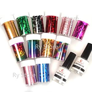 2 in 1 Professional 12 Mix Colorful Colors Shimmer Mixed Holograph Sheen Color Nail Foil Art Decorate Roll Strips Transfer Design Variety Patch and Wrap Set with 2 PCS 8ml White Adhesive Glue Nail by RY