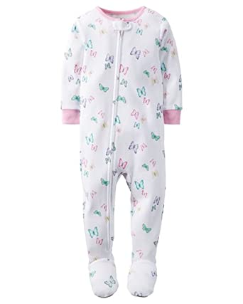 616c20cffa4e Amazon.com  Carter s Girl s 4T White Butterfly Cotton Footed Pajama ...