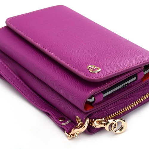 Kroo Multi-Use Wallet Case with Coin Pouch for Smartphones up to 5-Inch - Magenta (Wallet Phone Cases For Htc One Sv)