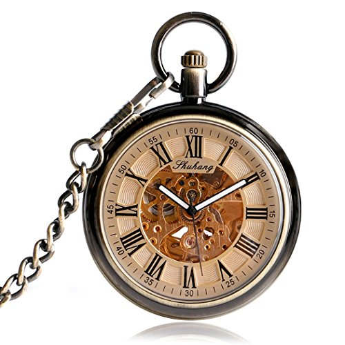 Open Face Automatic Mechanical Pocket Watch, MILIYA Skeleton Roman Numerals Watches with Chain (Roman Numeral Pocket Watch)