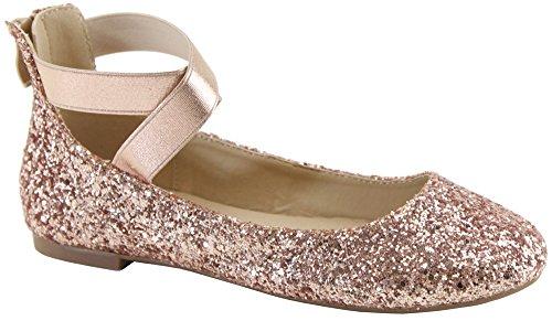 Cambridge Select Dames Gesloten Ronde Neus Stretch Elastisch Kris-kras Enkelbandje Achterkant Rits Ballet Platte Champagne Glitter