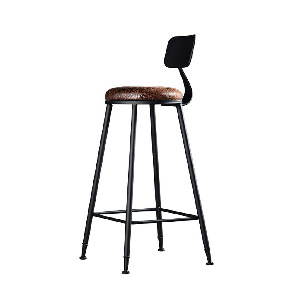 AO-stools Iron Bar Stool Creative Bar Chair American Retro Backrest High Stool High Stool 42x42x75cm