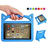SHREBORN F i r e 7 Tablet Case,All-New F i r e 7 2017 Case,F i r e 7 Kids Case - Kids Shock Proof Protective Cover Case for Tablet (Compatible with 5th Generation 2015 / 7th Generation 2017) - Blue