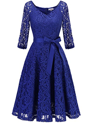 Wedding Guest Dresses With Sleeves.Dressystar 0018 V Neck Lace 3 4 Sleeve Bridesmaid Wedding Guest Dress Slim Waist Xxl Royal Blue Frenzystyle