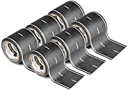 PlayTape Black Road - 8 Pack of Road Car Tape Great for Kids, Sticker Roll for Cars Track and Train Sets, Stic
