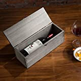 MyGift Vintage Gray Wood Wine Carrying Case with