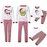 Pumsun ❤️ Christmas Mommy&Daddy&Me Women Coffee Hats Tops+Stripe Pants Family Set Clothes (L, Mommy)