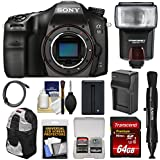 Sony Alpha A68 Digital SLR Camera Body 64GB Card + Battery & Charger + Backpack Case + Flash + Kit
