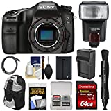 Sony Alpha A68 Digital SLR Camera Body with 64GB Card + Battery & Charger + Backpack Case + Flash + Kit