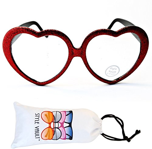 E3079-vp Heart Love clear lens Glasses party sunglasses (B3323F Glitter red, UV400)]()