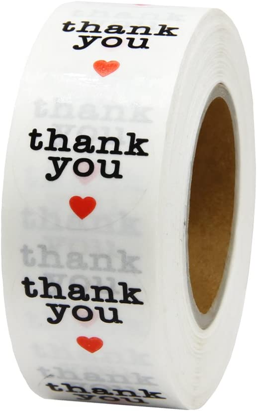 Hcode 1 inch Round Clear Circle Transparent Waterproof Thank You Stickers with Red Heart 1,000 Adhesive Label per Roll
