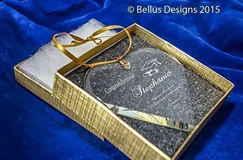 Graduation High School or College Gift Heart Shaped Crystal Glass Optic Crystal Christmas Ornament with Pretty Fonts