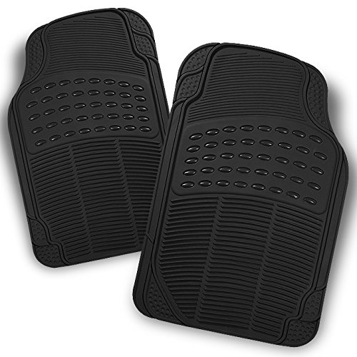 For All Weather Heavy Duty Rubber Semi Pattern Black Car Interior Front Floor Mats 2 Pieces Set Liner