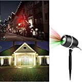 Laser Projector Lights Christmas Outdoor Decorations Garden Spotlights Red&Green Moving Star Landscape Light for Party Holiday Stage Light