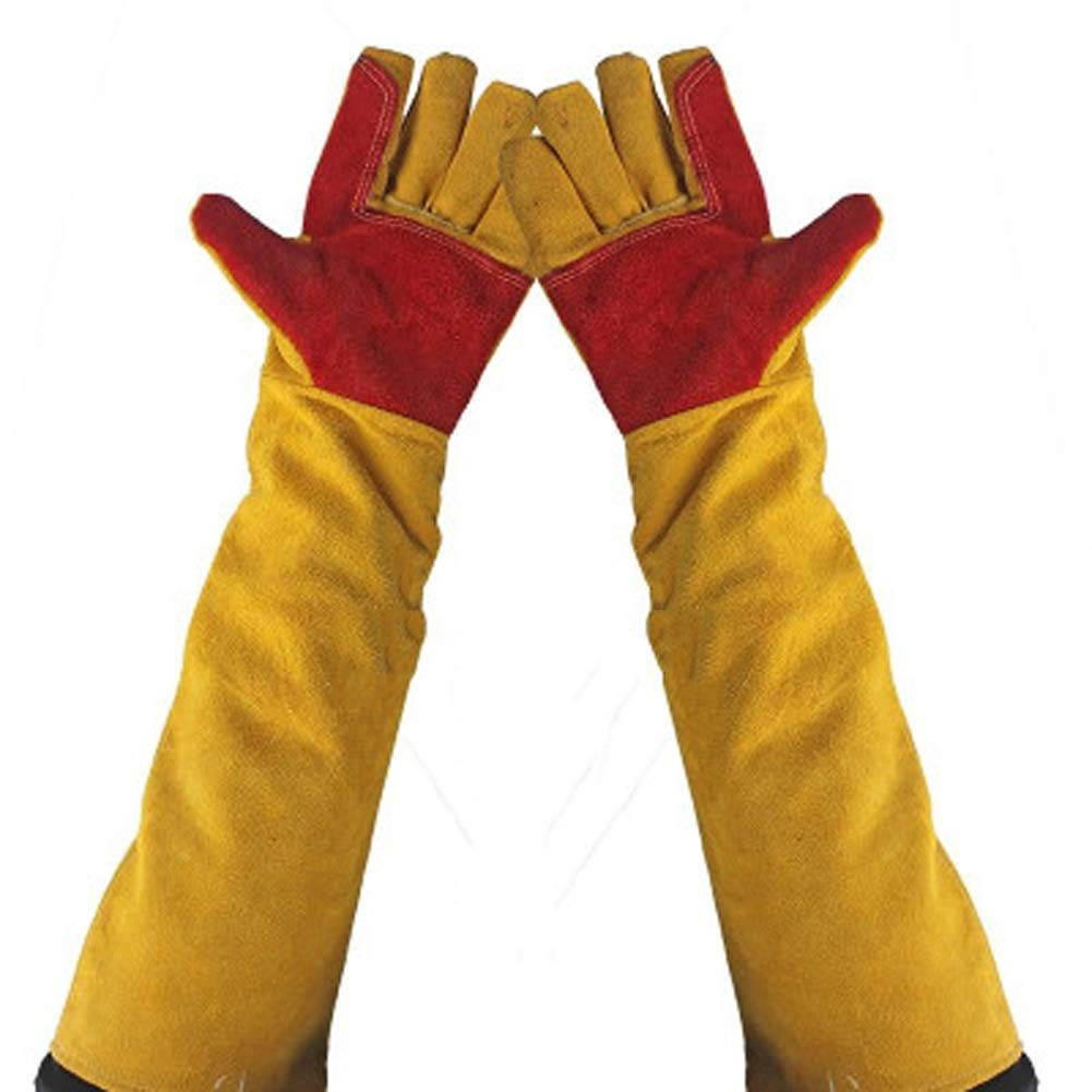 DSWDA Long Sleeves Welding Safety Gloves, Cotton Lined and Kevlar Stitching Welders Gauntlets Wood Burners Accessories Gloves, Heat Resistant Stove Fire and Barbecue Gloves Long Length Cuffs/24inches