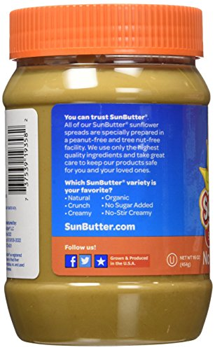 SunButter Natural No Sugar Added Sunflower Butter with hint of salt (Pack of 6) 5 Pack of 6 jars Natural, simple and delicious peanut butter alternative with 7 grams of protein per serving Free from top 8 food allergens: peanuts, tree nuts, milk, eggs, wheat, fish, shellfish and soy