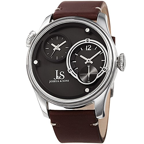 Dual Time Swiss (Joshua & Sons Dual Time Zone Silver-Tone Accented Black Dial and Silver-Tone Bezel with Genuine Leather Brown Strap Watch JX118SS)