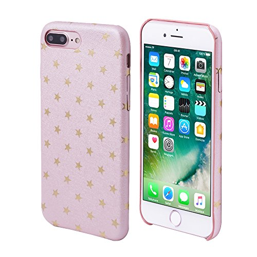 iProtect Limited Edition Star Case for Apple iPhone 7 Plus, iPhone 8 Plus TPU Hardcase - Unique Design - Smooth Touch Protective Sleeve with Gold Stars in Light Pink