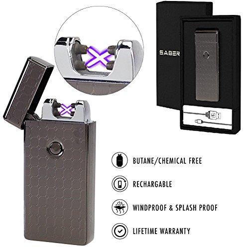 Saberlight X Dual Arc Plasma Lighter - Rechargeable Flameles