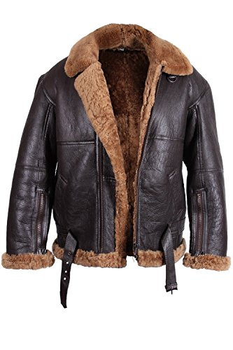 Brandslock Mens Aviator Shearling Sheepskin Leather Jacket Medium Brown
