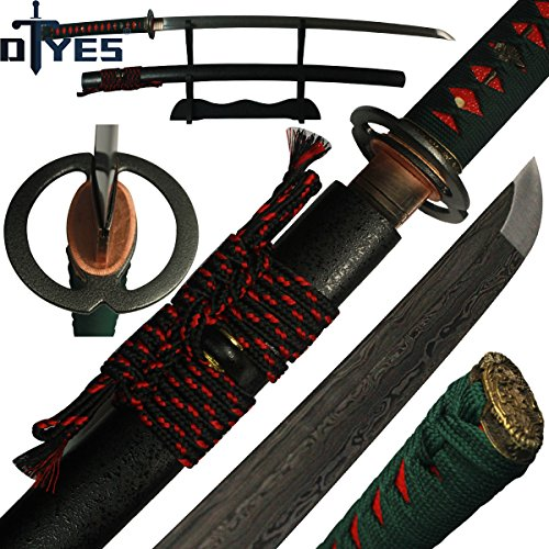 - DTYES Real Japanese Samurai Katana Sword, Sharp, Battle Ready, Full Tang, Damascus Steel, 10 Times Folded 1024 Layers, Alloy Musashi Tsuba, Hard Wood Scabbard with Double Colors Synthetic Thick Sageo