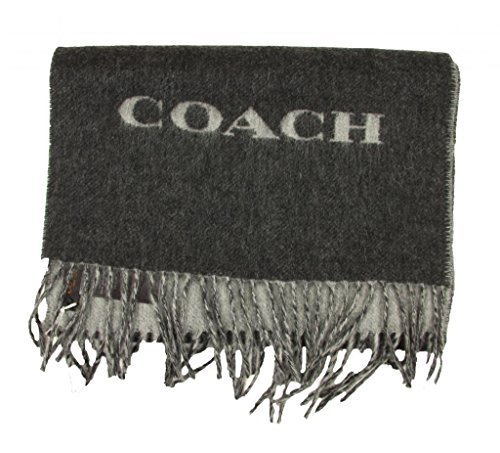 Coach Mens Bi Color Double Face Wool Scarf in Charcoal ()