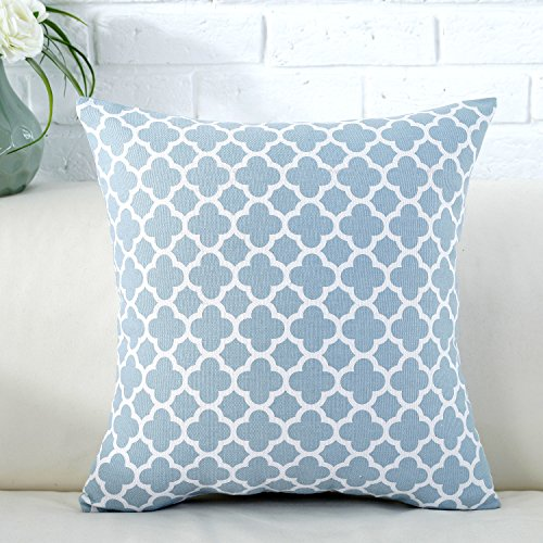 TAOSON Light Blue Moroccan Quatrefoil Accent Pattern Cushion Cover Pillow Cover Pillowcase Cotton Canvas Pillow Sofa Throw White Printed with Hidden Zipper Closure Only Cover 18x18 Inch 45x45cm ()