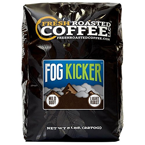 Fresh Roasted Coffee LLC, Fog Kicker Blend Coffee, Light Roast, Artisan Blend, Whole Bean, 5 Pound -