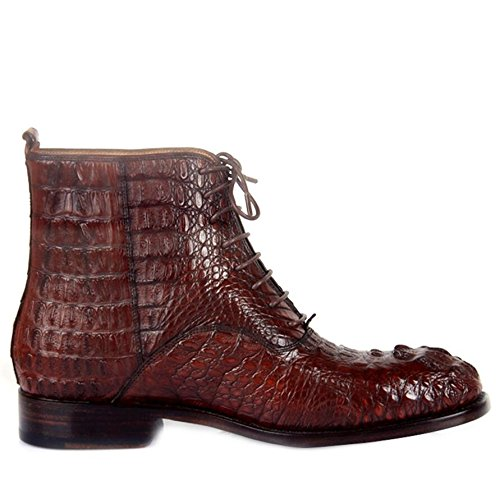 pour brown Bottes Red en Cuir la à de Main sur Véritable Crocodile Faites Commande Hommes Bottes 8pFZHwn8q