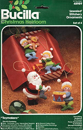 (Bucilla Toymakers Ornaments Santa and Elves Felt Christmas Kit 48989 - Vintage Set of 4)