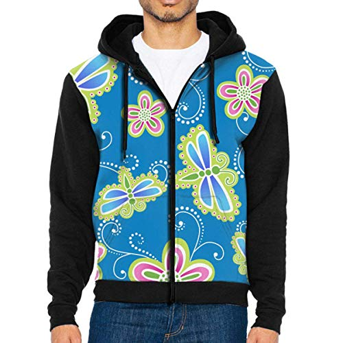 - pirdusew Mens Pullover Hood Flower and Dragonfly Zip Hoodies Hooded Casual Jackets Coats
