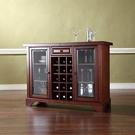 Amazon.com: Crosley Furniture Lafayette Sliding Top Bar Cabinet ...