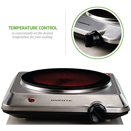 "Ovente Countertop Infrared Burner – 1000 Watts – 7.5"" Ceramic Glass Single Plate Cooktop with Temperature Control, Non-Slip Feet – Indoor/Outdoor Portable Electric Stove – Stainless Steel (BGI201S) by Ovente (Image #2)"