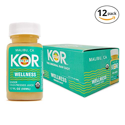 Kor Shots Wellness - Certified by Organic Certifiers Cold Pressed, Ginger, Vitamin-C, Invigorating Energy Juice Shot- 12 Pack