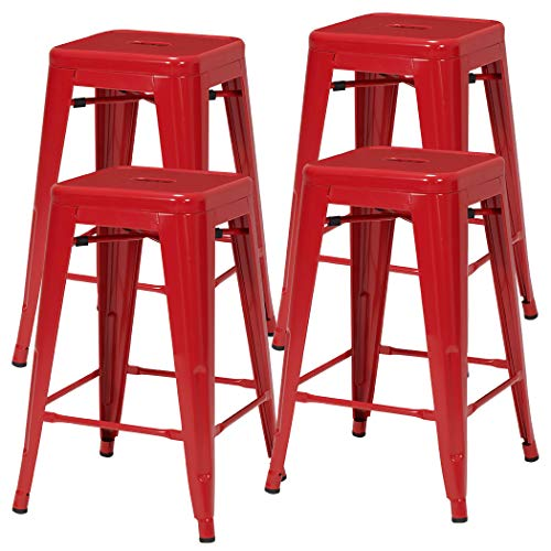 Red 4 Chairs Set (Duhome Industrial Design Metal Iron Stool 24