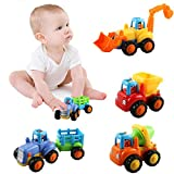 Push and Go Assorted Trucks Construction Vehicles Cars Toys Set Dumper, Bulldozer, Tractor and Mixer Truck for Baby Toddlers