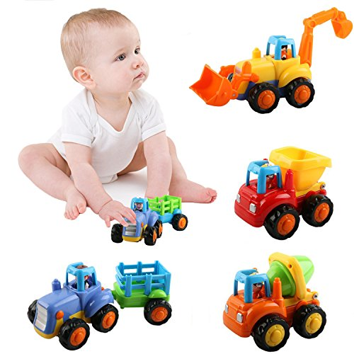 Hip Mall Push and Go Assorted Trucks Construction Vehicles Cars Toys Playset Dumper, Bulldozer, Tractor and Mixer Truck for Baby Toddlers by Hip Mall